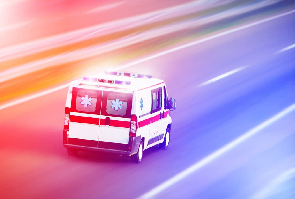 Ambulance, flashing lights